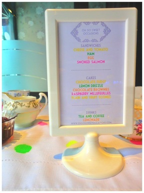 Tea party menu