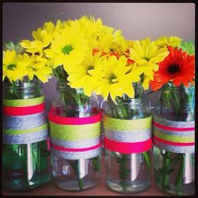 Flowers in DIY string vases