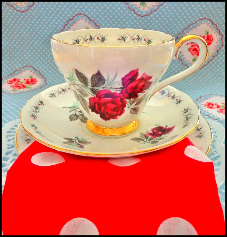 Red vintage china and napkins