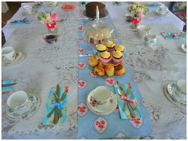 Vintage tea party table setting