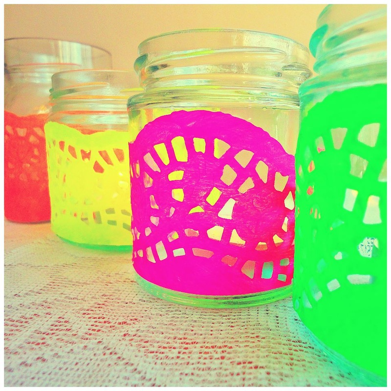 80s inspired neon tealights